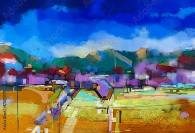 Obraz Abstract oil painting landscape. Colorful blue purple sky. Oil painting outdoor landscape on canvas. Semi abstract tree, hill and field, meadow. Sunset, fall season landscape nature background
