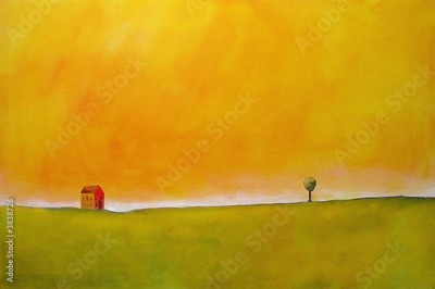 Obraz this is an abstract painting of a farm scene