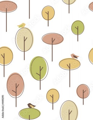 Fototapeta Autumn trees seamless pattern