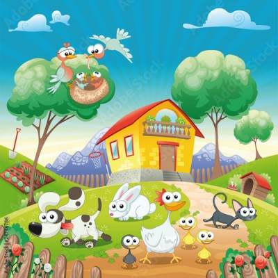 Fototapeta Home with Animals. Cartoon and vector illustration.