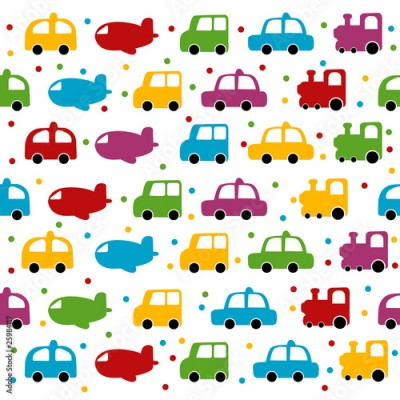 Fototapeta Seamless toy car and plane background for baby boy.