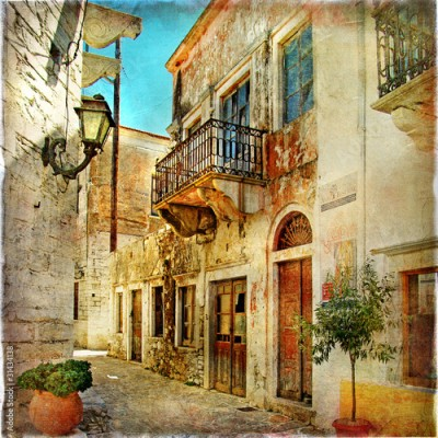 Panel Szklany pictorial old streets of Greece