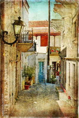 Panel Szklany old greek streets- artistic  picture