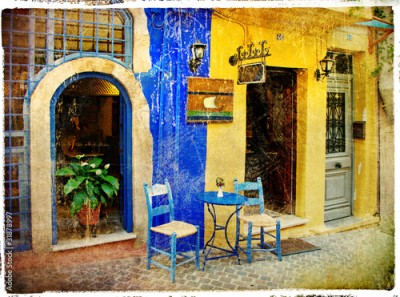 Panel Szklany pictorial old streets of Greece - Chania, Crete