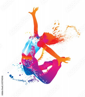 Fototapeta The dancing girl with colorful spots and splashes on white