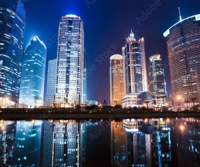 Obraz na Plexi night view of shanghai financial center district