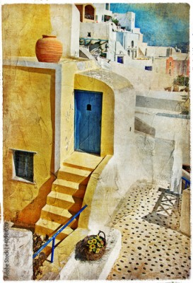 Panel Szklany colors of Santorini -artistic picture