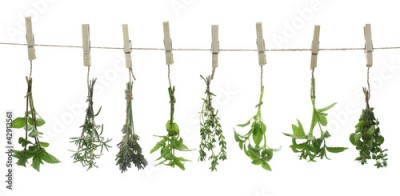 Obraz na Szkle Fresh herbs hanging on a rope