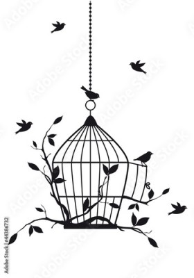 Panel Szklany free birds with open birdcage, vector