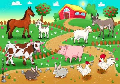 Fototapeta Farm animals with background. Vector illustration