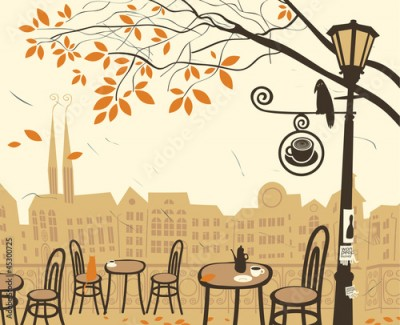 Obraz autumn landscape with a street cafe