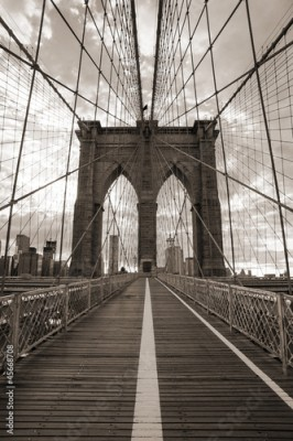 Fototapeta Brooklyn Bridge in New York City. Sepia tone.
