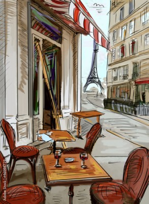 Panel Szklany Street in paris - illustration