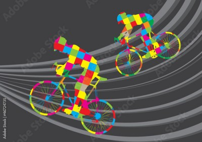 Obraz Cyclist riding a bicycle vector background