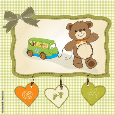 Fototapeta baby shower card with cute teddy bear
