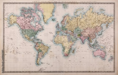 Obraz na Plexi Old Antique World Map on Mercators Projection