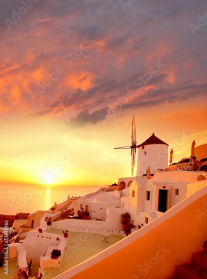 Obraz Windmill in Santorini against sunset, Greece