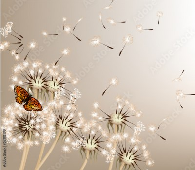 Panel Szklany Abstract background with vector dandelions