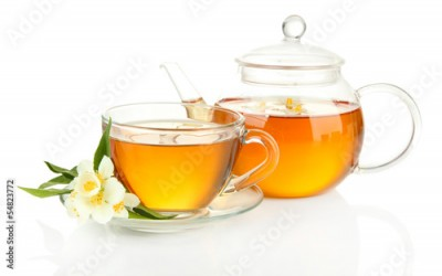 Obraz Cup of tea with jasmine, isolated on white