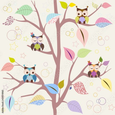 Fototapeta Seamless pattern with owls