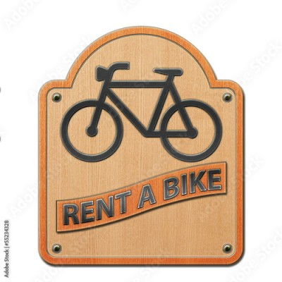 Obraz Rent a Bike - Schild Holz 2.jpg