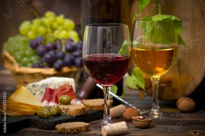 Obraz Wine and cheese
