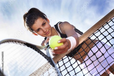 Obraz Beautiful young girl rests on a tennis net