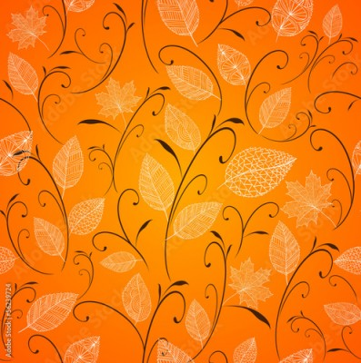 Obraz Vintage autumn leaves seamless pattern background. EPS10 file.