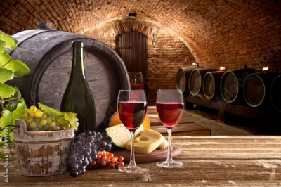 Obraz Wine bottle and glasses on wooden table