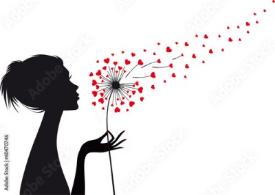 Naklejka woman and dandelion with red hearts, vector