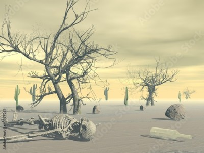 Obraz na płótnie Skeleton in the desert - 3D render