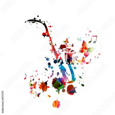 Fototapeta Colorful music background with saxophone