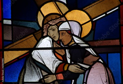 Naklejka Jesus carrying the cross meets his mother Mary. Stained glass