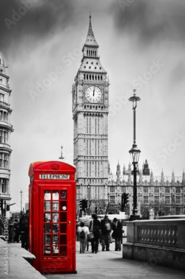 Obraz Red telephone booth and Big Ben in London, England, the UK.