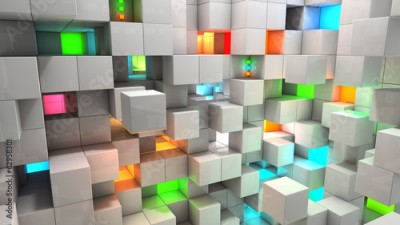 Naklejka Abstract background white and color cubes