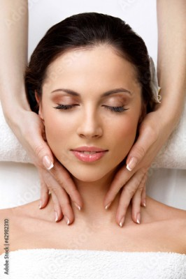 Obraz Spa Woman. Close-up of a Beautiful Woman Getting Spa Treatment
