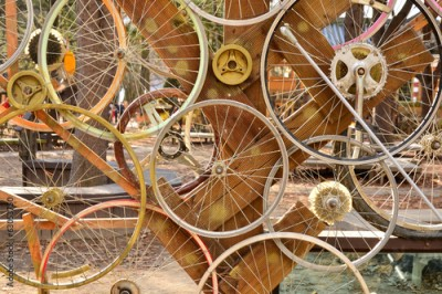 Obraz Bicycle wheels pattern decorate to background