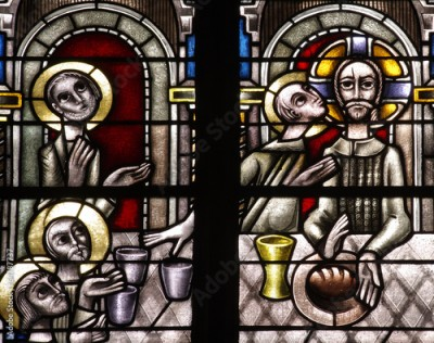 Naklejka The last supper in stained glass