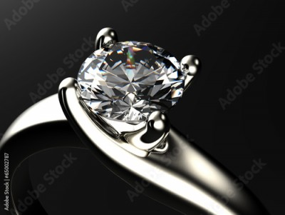 Fototapeta Ring with diamond isolated on gray background