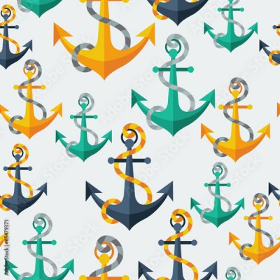 Fototapeta Nautical seamless pattern with anchors and rope.