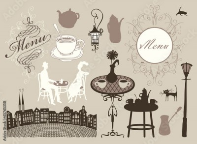 Obraz na płótnie set of design elements on the subject of cafes and restaurants