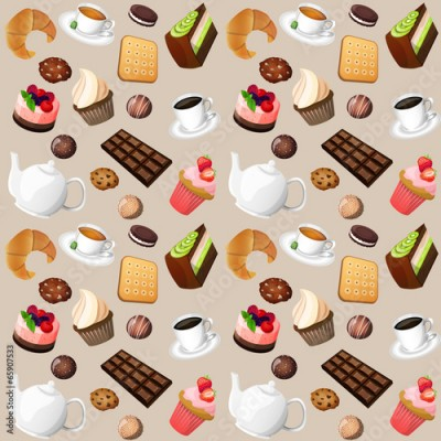 Obraz Coffee and sweets seamless background