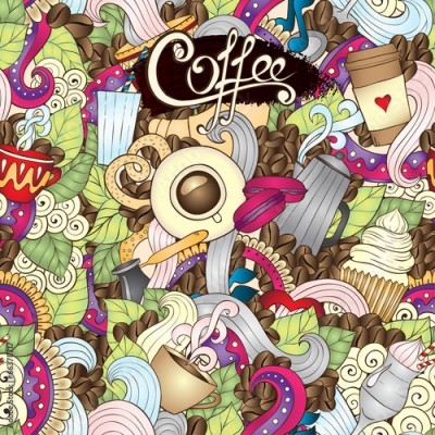 Fototapeta Hand-Drawn Coffee  Doodle Vector Illustration. Design Template.