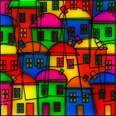 Obraz Stained Glass Village