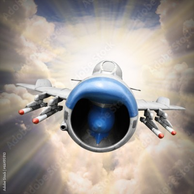 Fototapeta Speedy jet fighter on the sky. Retro style picture.