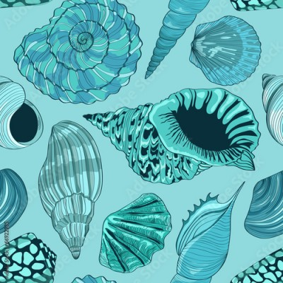 Fototapeta Seamless pattern of seashells