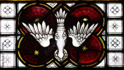 Naklejka The Dove (holy spirit) in stained glass