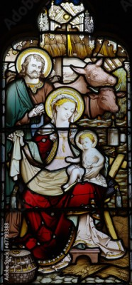 Naklejka Nativity: the birth of Jesus in stained glass