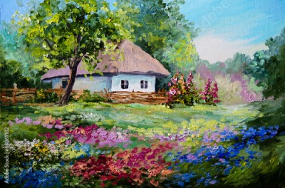 Obraz na płótnie oil painting - house in the village