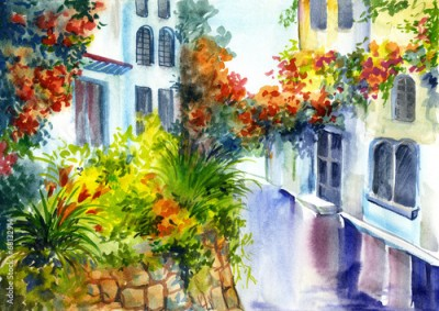 Panel Szklany watercolor painting - flowers near the house